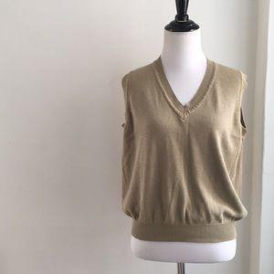 VTG khaki tan classic basic cotton knit vest S